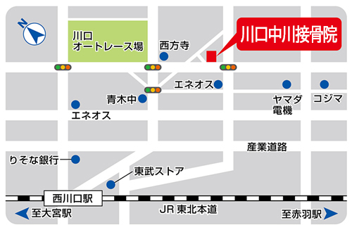 川口の整体・整骨 川口中川接骨院の地図